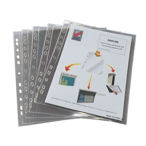 A4 punched rigid plastic document sleeves